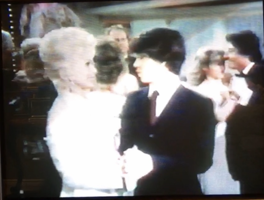 Eva Gabor and Brad Savage dance to the moves that Stan Rodarte (far right dancer) choreographed on the set of The Love Boat.