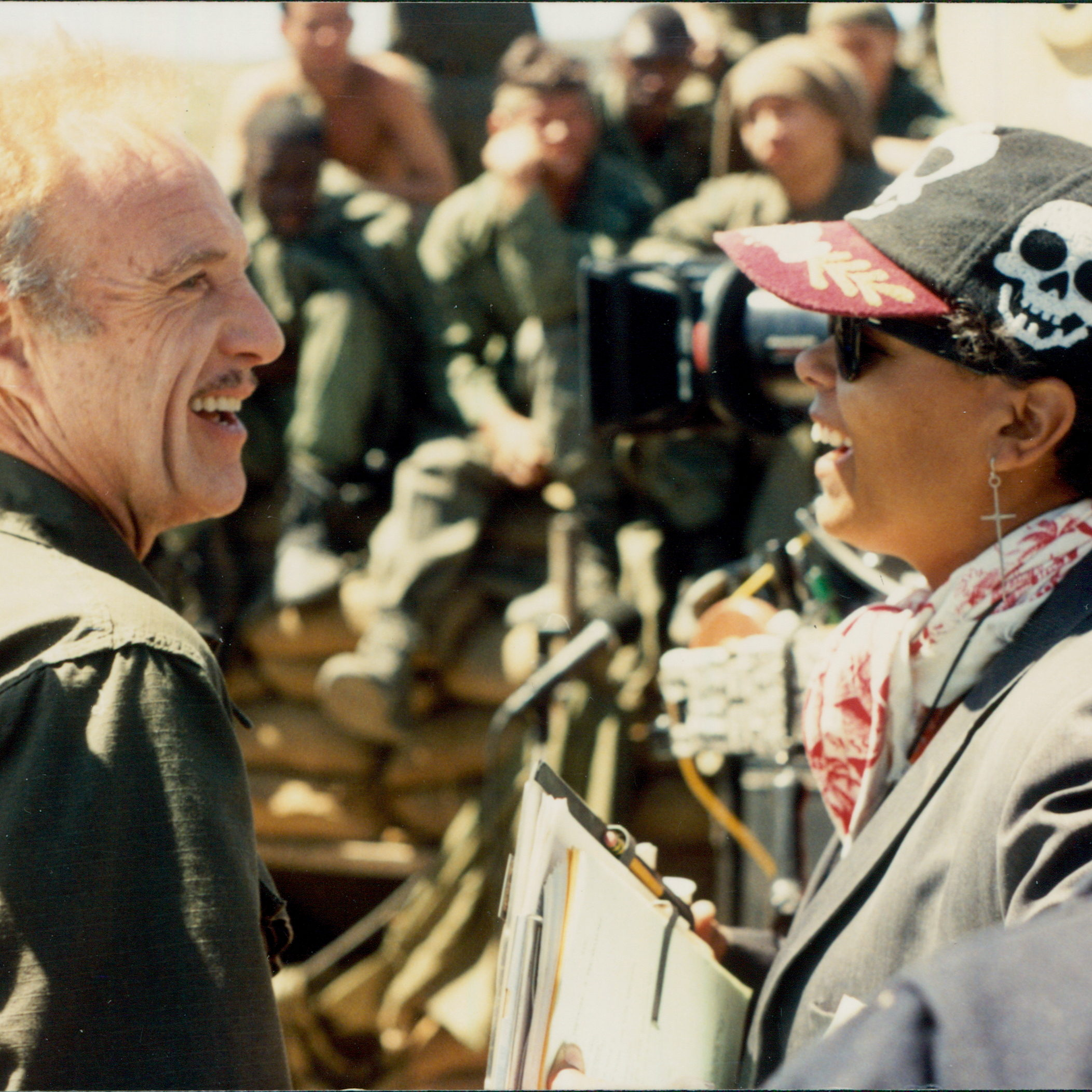 James Caan and Elizabeth Pryor share a laugh between takes.